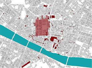 """La """"mappa"""" dei negozi del centro storico che non comprende tutte le farmacie della zona  – QUESITO"""