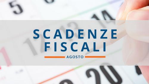 Scadenze fiscali AGOSTO 2018